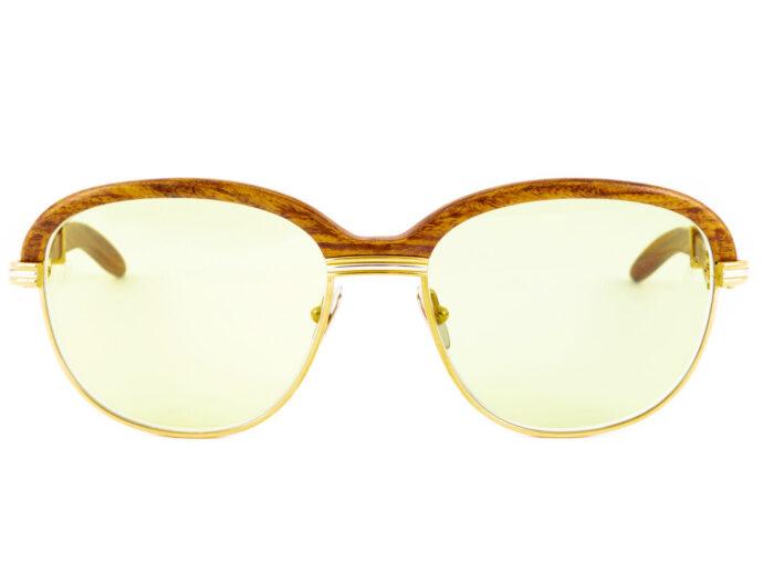 Cartier Malmaison Bubinga Wood 54-17 Gold Green