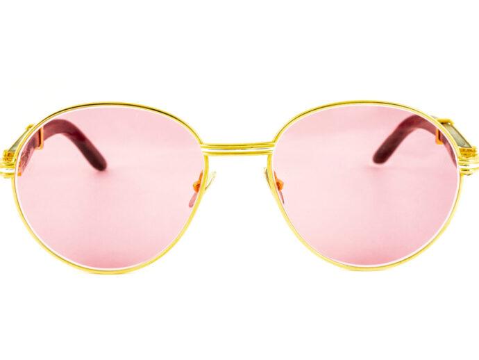 Cartier Bagatelle Bubinga Wood 55-18 Gold Pink